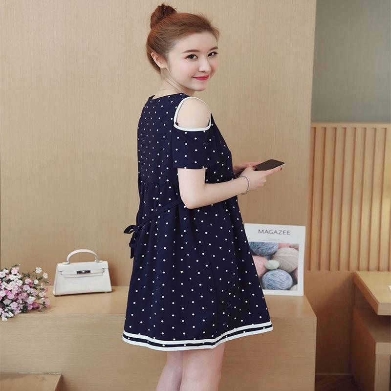 Summer Maternity Dot Dress Cotton V-Neck Pregnancy Clothes For Pregnant Women Clothing Gravidas Big Size Dresses Vestido M-XXL enlarge