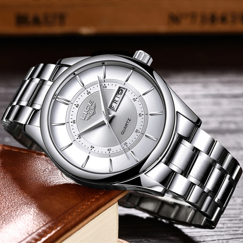 2017 new loreo chronograph waterproof auto date wrist watch top luxury brand stainless steel luminous diver male automatic clock 2020 LIGE Men Watches Top Luxury Brand Sport Quartz Watch Men Chronograph Waterproof Wrist Watch Man Stainless Steel Date Clock
