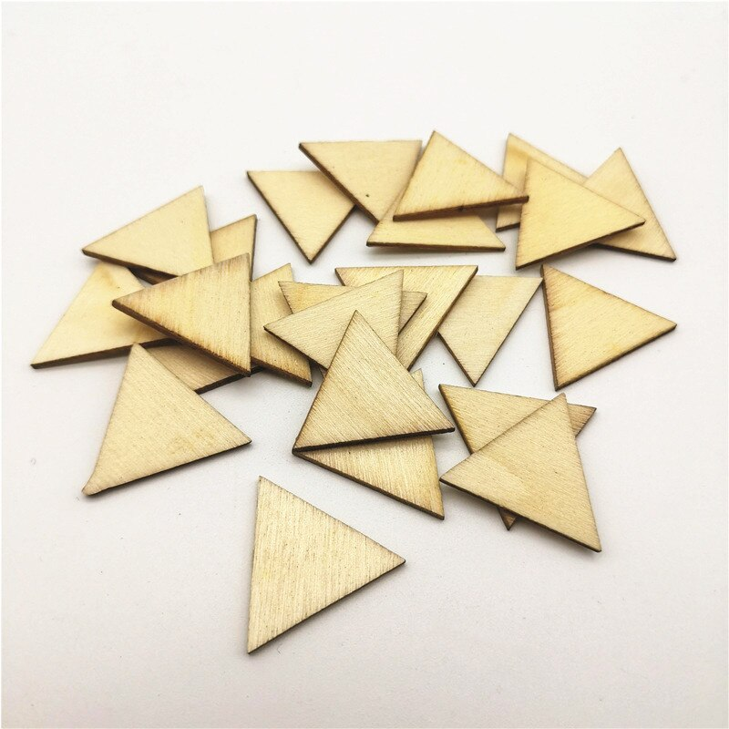 100pcs 25mm 1 inch Blank Wood Triangles Chips Wooden Disks Embellishments For Holiday Craft Supplies