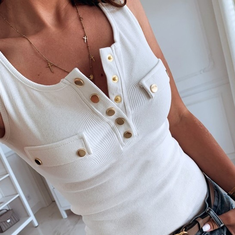 Summer Women's Tank Top Slim Fit Button Tops Solid Color Sexy Vest V-neck Casual Vest Sleeveless T Shirt Women Cotton Tank Tops 2021 summer top women sleeveless lace tank top sexy women s t shirt vest tank tops female vest tops white black underwear women