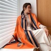 women fashion winter warm long scarf imitate cashmere thick shawl horse print big blanket kerchief bandana 19065cm