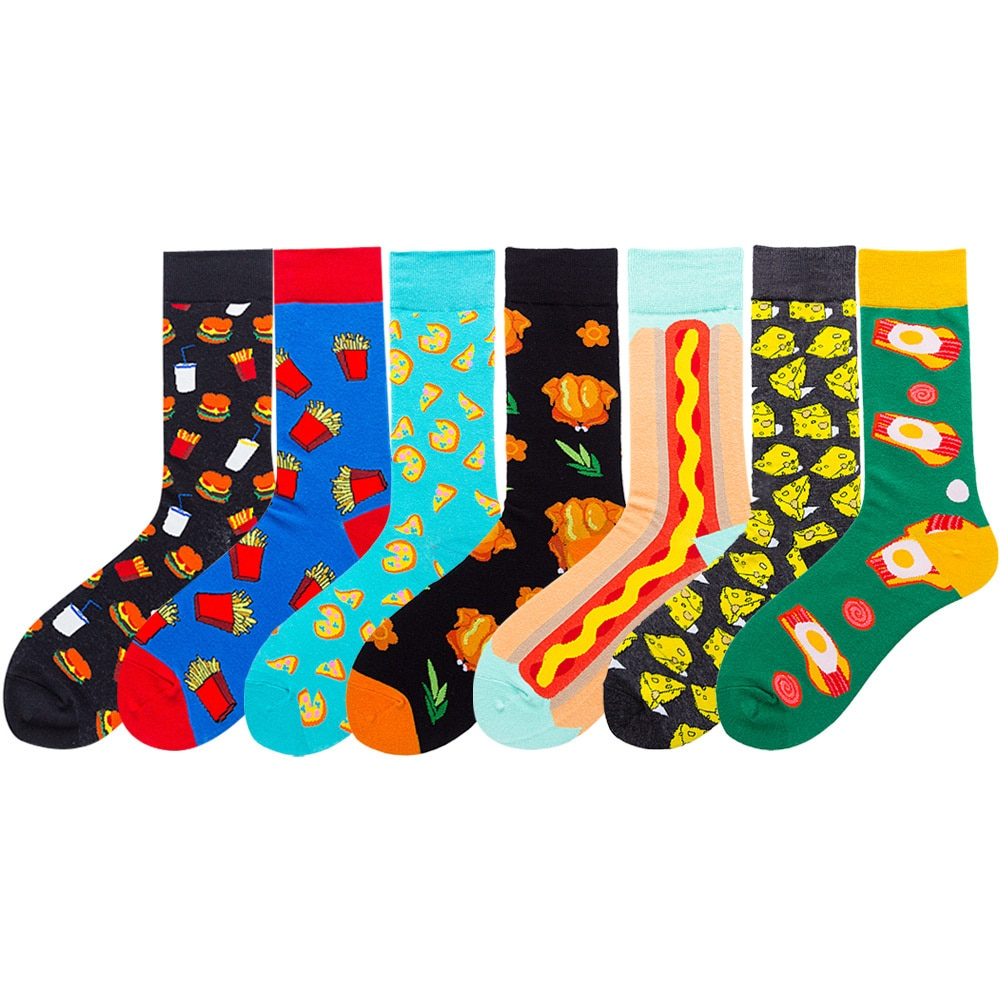 Осенние новые носки с сыром женские носки с картофелем фри мужские носки с гамбургерами и едой модные уличные носки