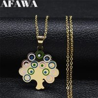 tree of life stainless steel color enamel pendant necklace women gold color necklace jewelry collar acero inoxidable n9504s01