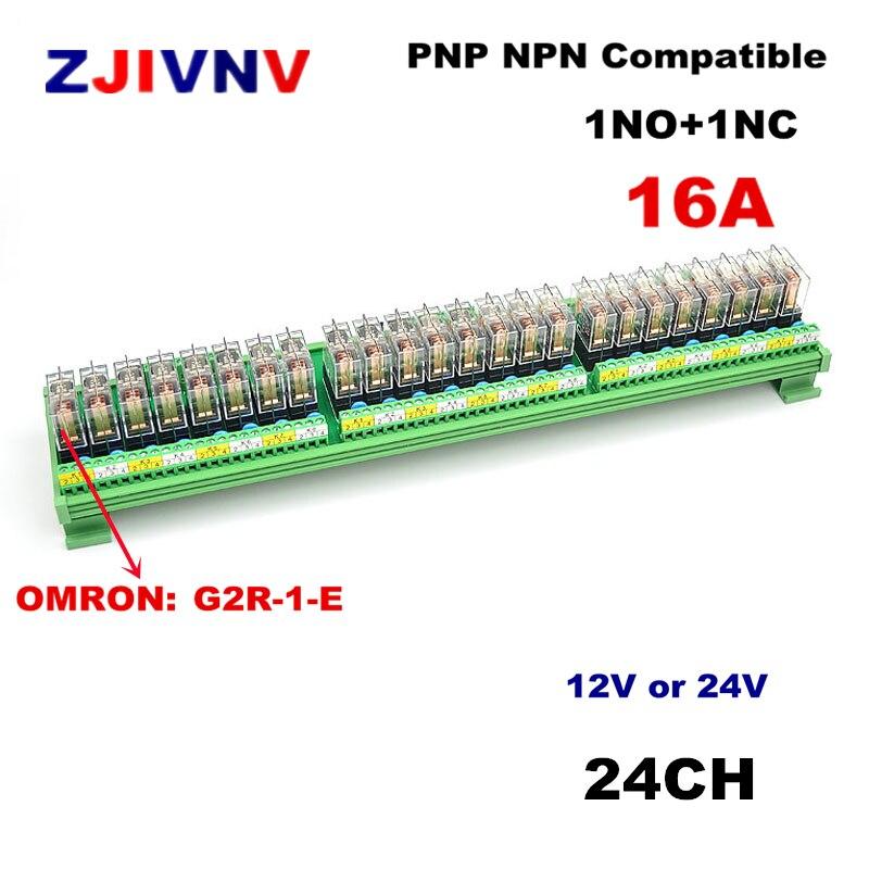 24 canais Módulo de Interface de Relé de Potência DIN Rail Mount 16A 1 NO + NC 1 com OMRON G2R-1-E DC12v/ 24V Relé PNP NPN compatível