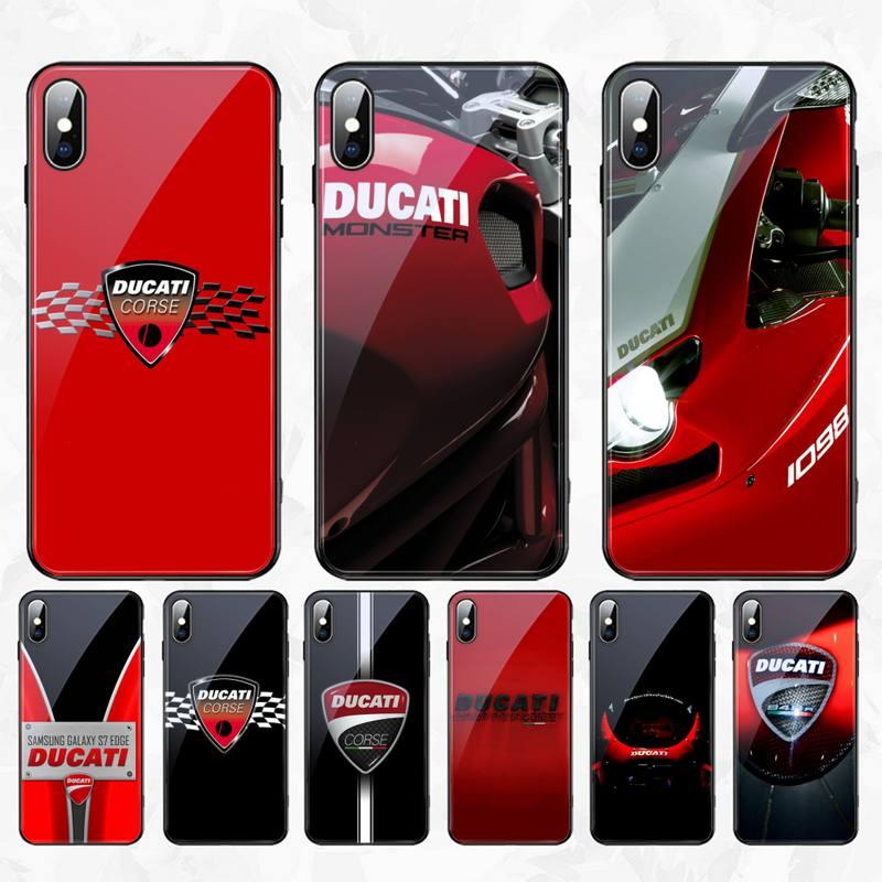 CUTEWANAN Ducati Corse Logo, funda de teléfono, cubierta de casco de cristal templado para iPhone 11 Pro XR XS MAX 8X7 6S 6 Plus SE 2020 funda