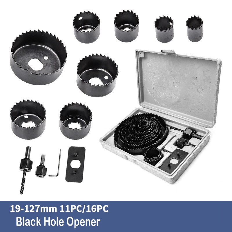 Woodworking Hole Saw 11/16pcs Set Drill Bit Carbon Steel 19-127mm Hole Cutter Set for Plasterboard Ceiling Wood Hole Saw Kit