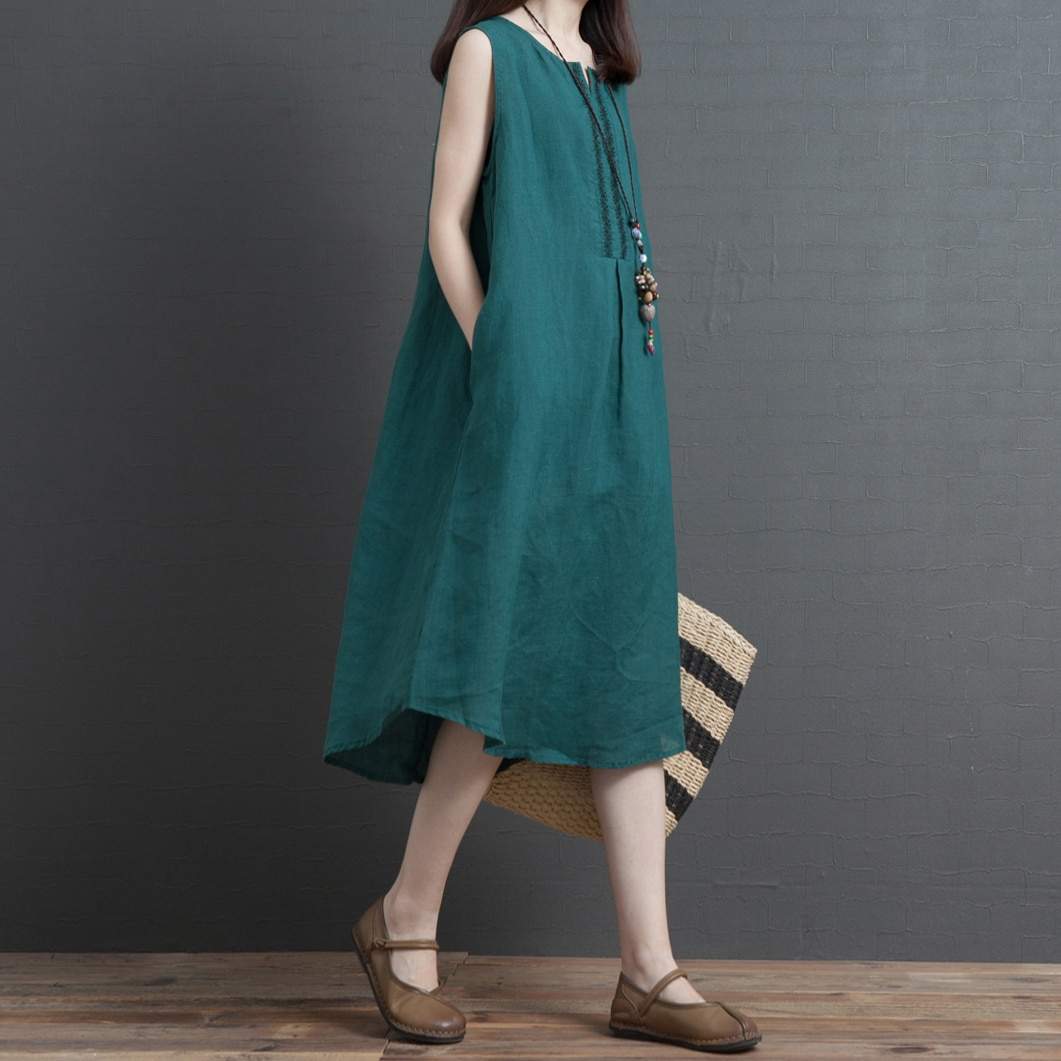 2020 Summer New Artistic Retro Loose Large Size Slimming Sleeveless Vest Dress Comfort and Casual Co