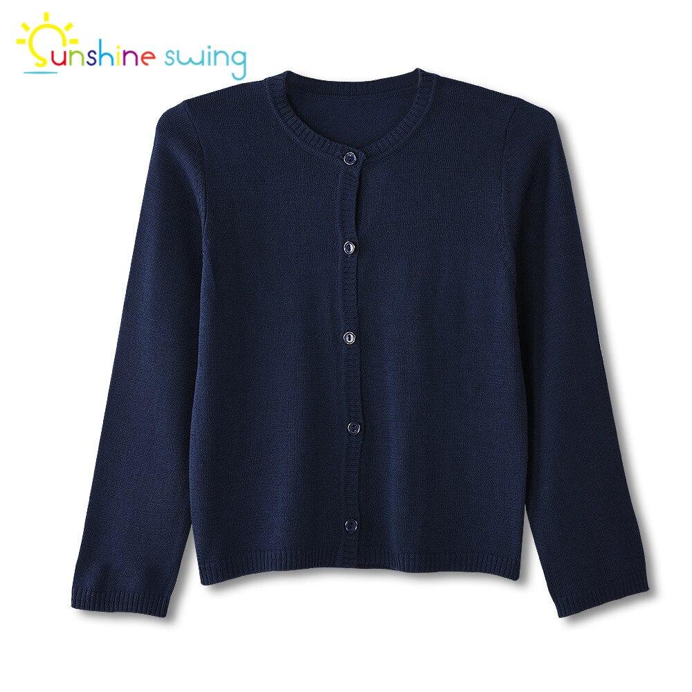 Sunshine swing moda crianças da criança roupas da menina cardigan camisola único breasted azul marinho malha primavera outono camisola 4-16t