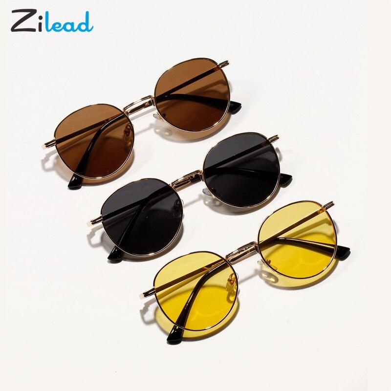 Zilead Metal Round Sunglasses Ocean Transparent Color Lens Eyewear For Men Women Fashion Stylish Sun Glasses Driving Spectacles
