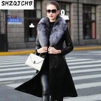 shzq cashmere grass leather down jacket womens long windbreaker fox fur collar sheep fur winter coat
