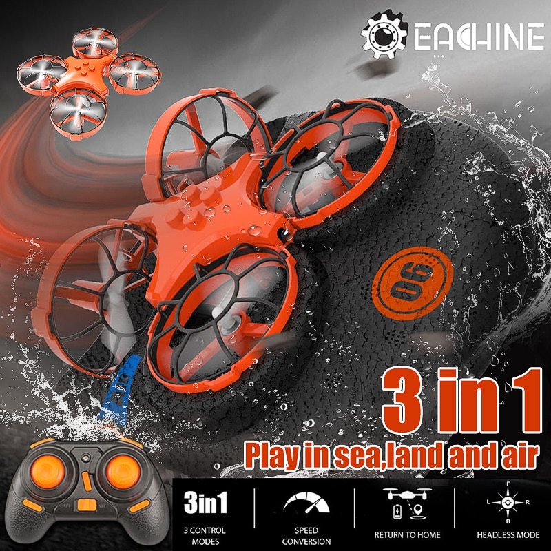 Everyine-E016F 3 في 1 RC Quadcopter Drone ، EPP ، قارب هوائي ، وضع القيادة على الأرض ، قابل للفصل ، مفتاح واحد ، لعبة عودة RTF
