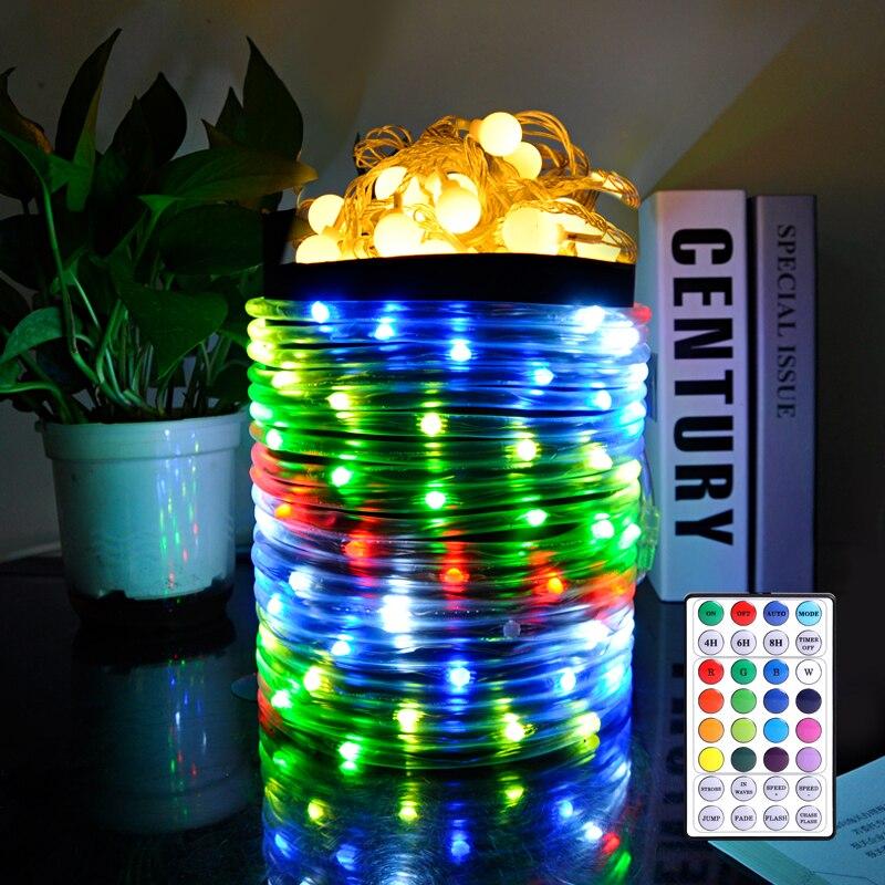 RGB خرطوم ضوء 16 لونًا ، ضوء سلسلة أنبوب USB ، زينة عيد الميلاد ، 32 مفتاحًا ، جهاز تحكم عن بعد ، خارجي ، RGB