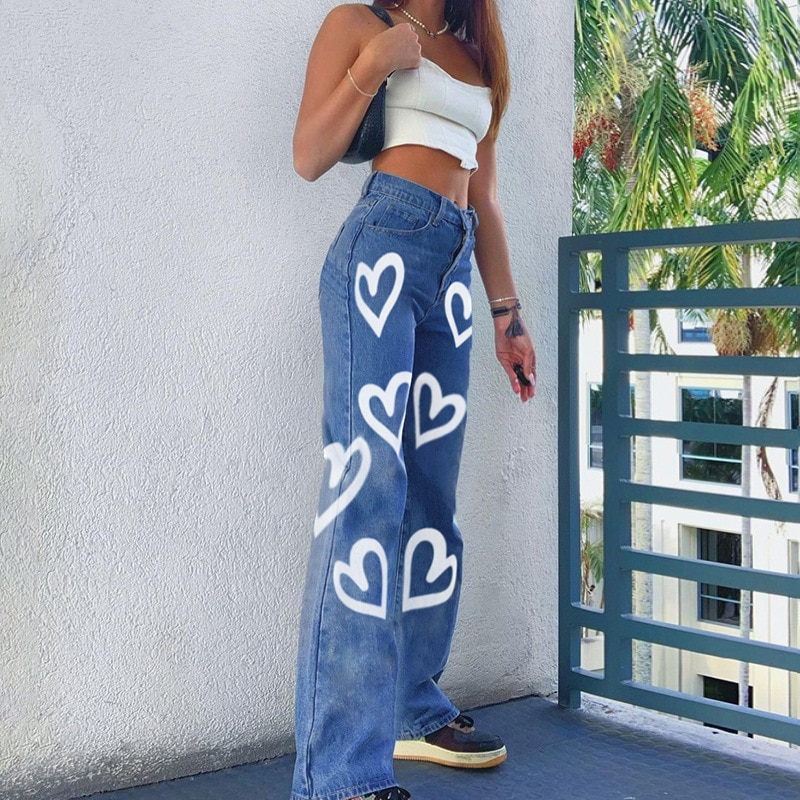 wide leg jeans for women blue loose pants high waist casual large size straight pants boyfriend straight mom jeans streetwear High Waisted Jeans Wide Leg Loose Comfortable Jeans Women Plus Size Casual Straight Pants Printed Boyfriend Pantalon Large Jeans