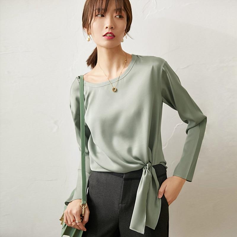 Hohe Qualität 100% Seide Bluse Frauen Hemd Solide Lace up Elegante Design O Neck Langarm 2 Farben Casual Top neue Mode