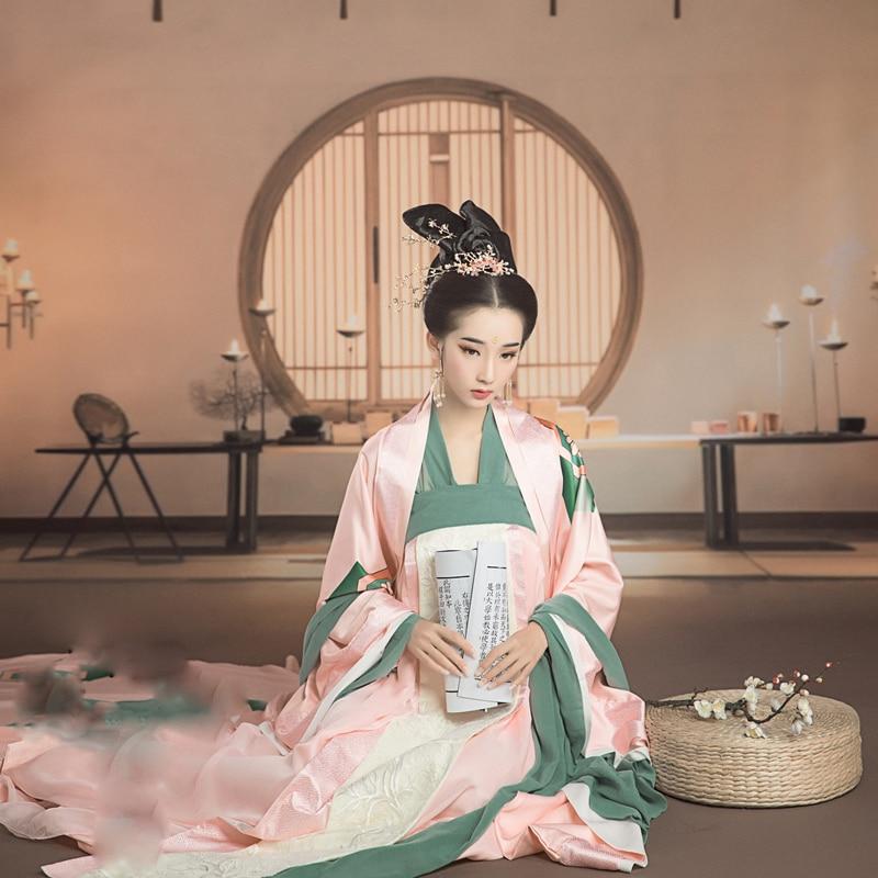 WYJN فو رونغ يوي الوردي طباعة تانغ عالية الخصر Ruqun الإناث الأميرة اليومية زي Hanfu للمرحلة أداء التصوير تأثيري