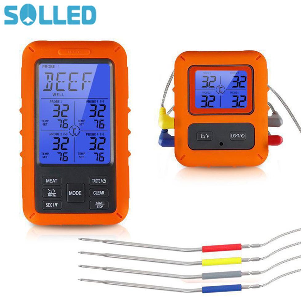 Termómetro Digital remoto inalámbrico de TS-TP40, sonda de acero inoxidable para cocinar carne, comida, horno, barbacoa