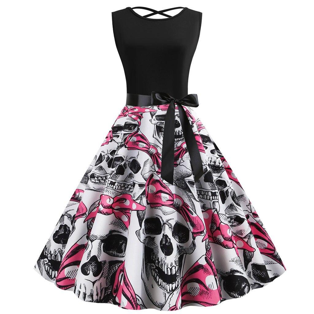 Robe pin up vestido do vintage 2020 crânio impressão vestido de halloween feminino sem mangas 50s 60s rockabilly vestidos de festa grande swing # s