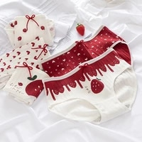red strawberry underwear love girl panties bow briefs cotton lingerie soft comfortable panty