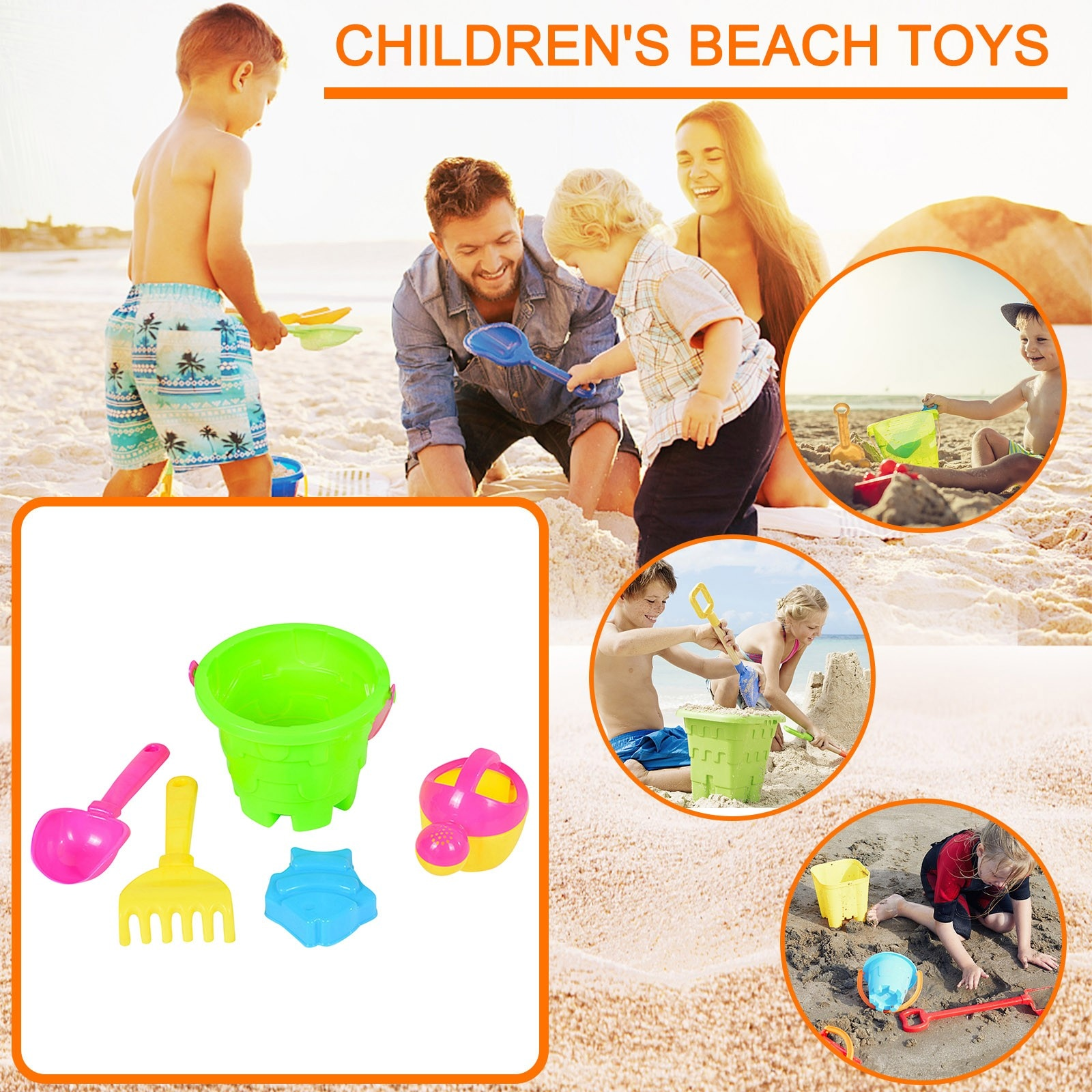5 Piece Beach Toys Sandbox Digging Sand Set Sand Play Sandpit Toy Summer Outdoor Toy Beach Big Hourglass Gardening Toys Gift #5 starry sky sand beach toy 18 piece sand set magic space clay sand puzzle power toys