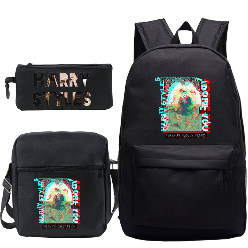 Harry Styles 3Pcs/Set Backpacks With Pen Case Shoulder Bag For School Teenager Laptop Travel School Bags Unisex Rucksack harry styles harry styles harry styles 180 gr