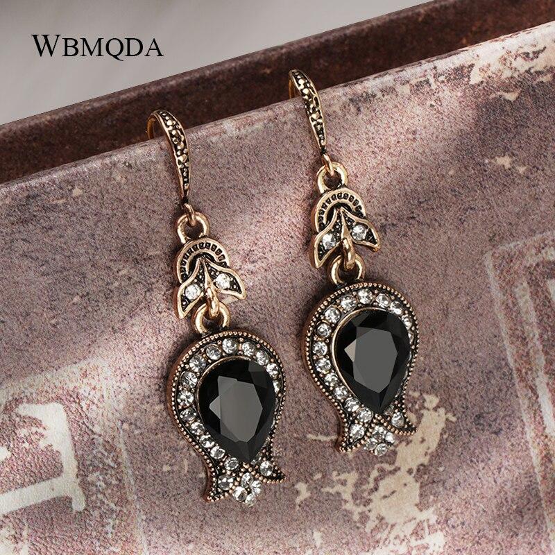 Wbmqda черная каменная капля серьги для женщин Античный Золотой каплевидный кристалл свадебные серьги Винтажные Ювелирные изделия рождестве...
