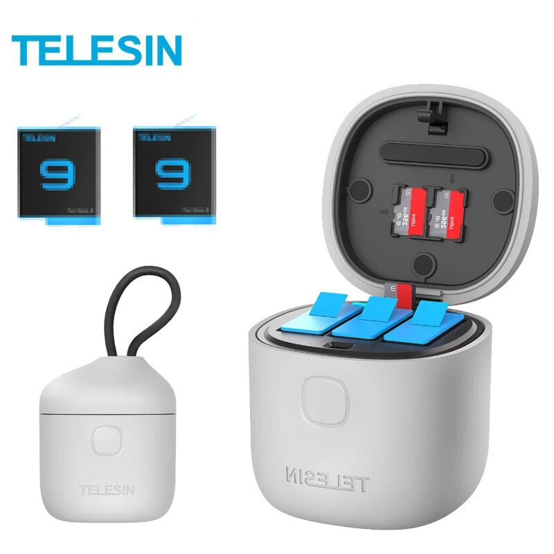 TELESIN 3 حزمة بطارية 1750mAh ل GoPro 9 3 فتحات شاحن TF قارئ بطاقة تخزين صندوق شحن ل GoPro بطل 9 أسود