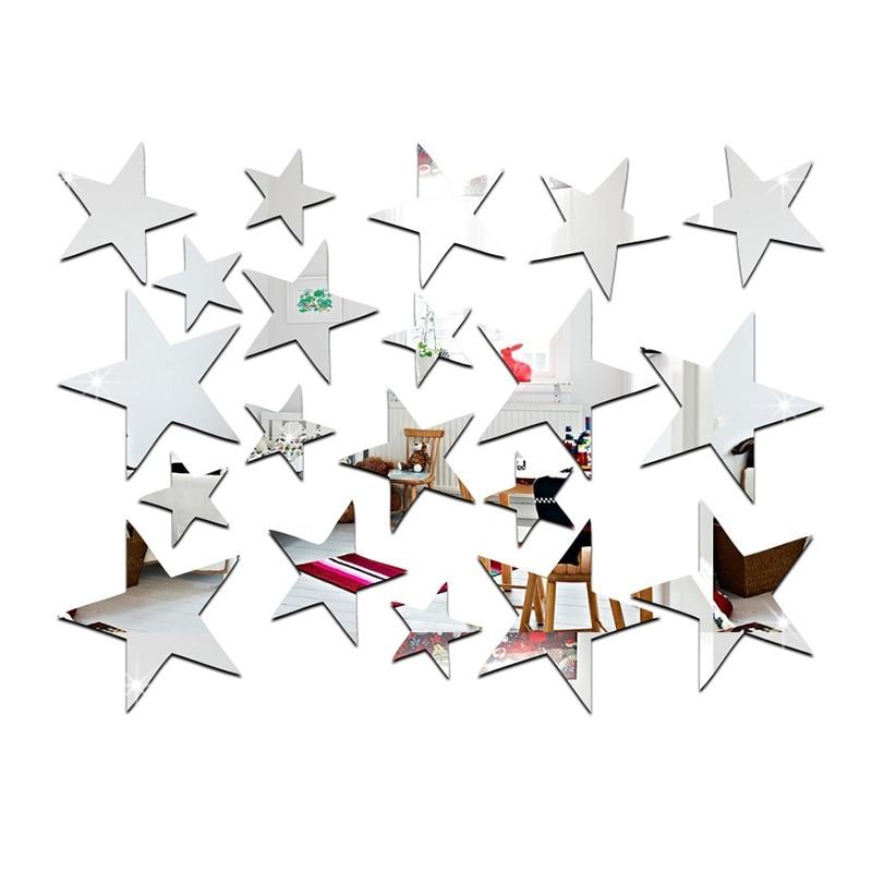 Promotion--3D Sticker, 20 X Star Art Mirror Wall Sticker Surface Decal Home Room DIY Art Decor (Silver)
