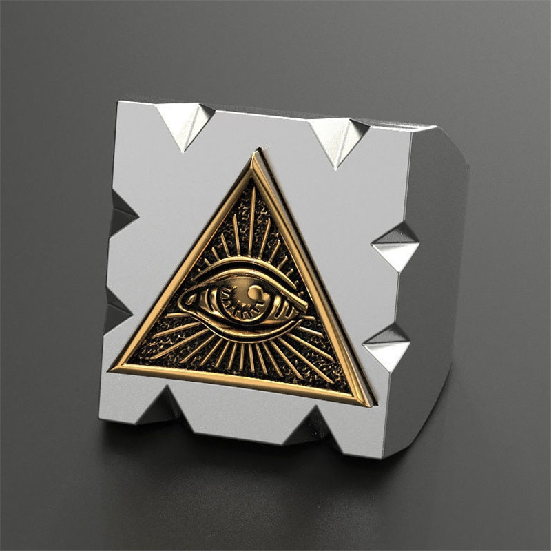 Secret Boy Men's Fashion Carbide Ring Freemason Illuminati Triangle The All-seeing-eye Masonic Ring Punk Biker Jewelry Size 7-14