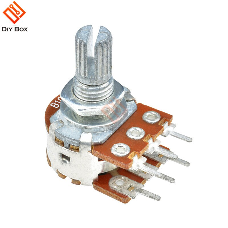 5PCS B1K B5K B10K B20K B50K B100K B500K 3Pin 6Pin Shaft WH148 Rotary Potentiometer 15MM Shaft Length Single Double Layer 161 horizontal double potentiometer b10k