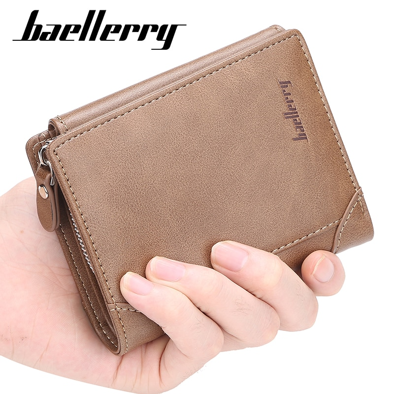 Baellerry 2020 Vintage Men Wallets Top Quality Trifold Men's Purse & Wallet Designer Leather Card Holder Small Purse