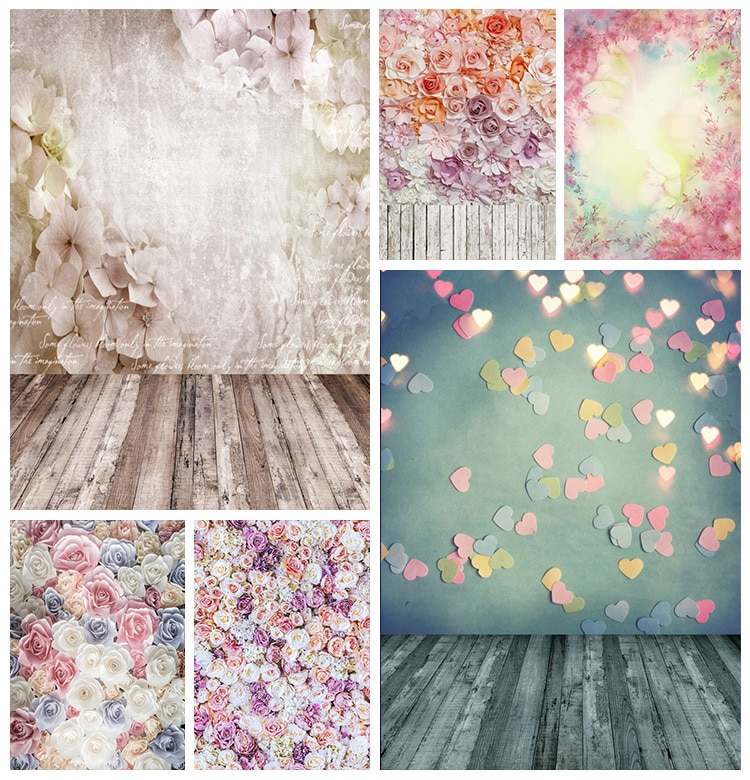 Flowers Blooming Trees Bokeh Wooden Floor Baby Portrait Photography Backdrops Photo Backgrounds Newborn Photocall Studio