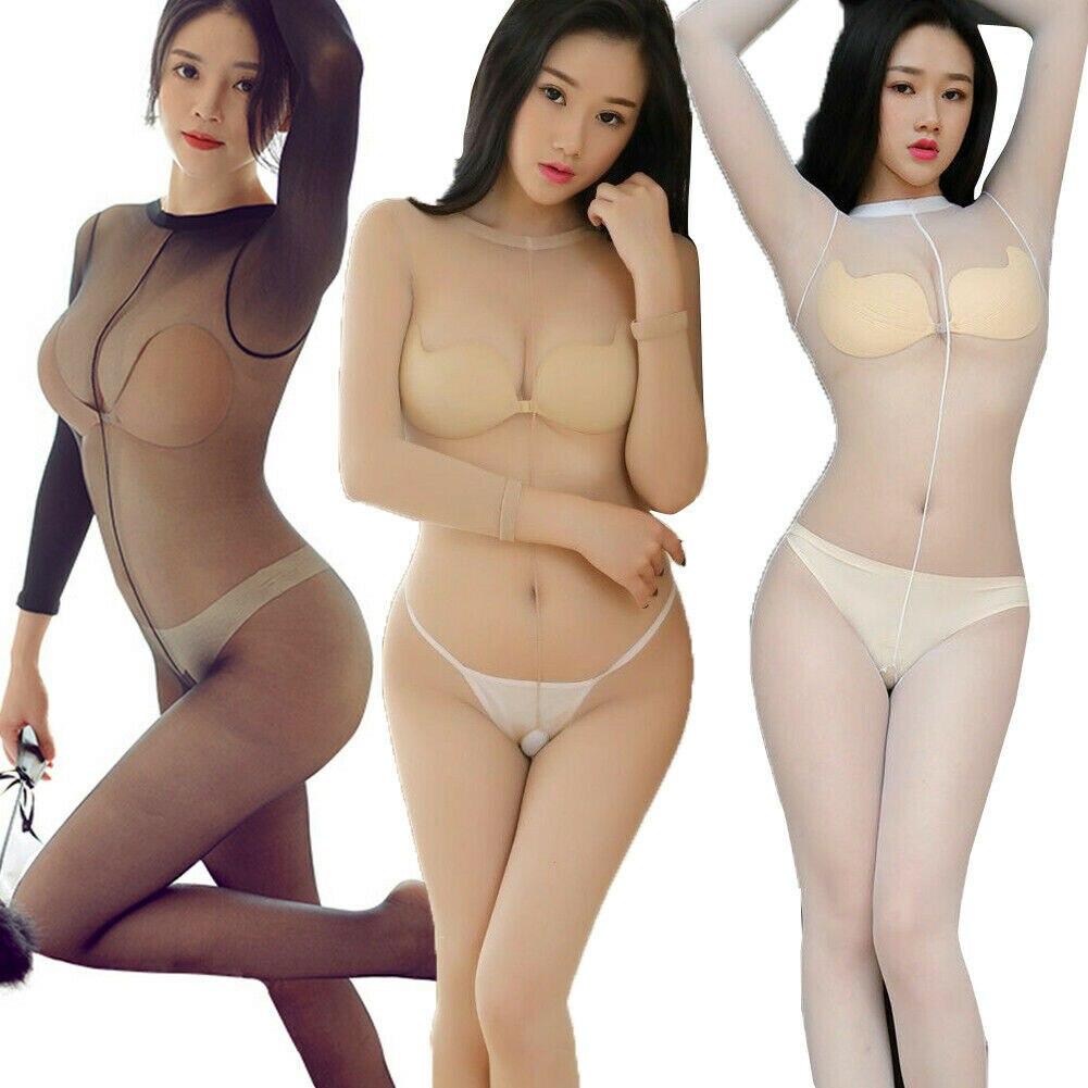Exotic Bodysuit For 150-175cm Women Lady Girls Elastic Open Crotch Bodysuits Catsuit Shiny Glossy Bodystocking Sheer Nylon