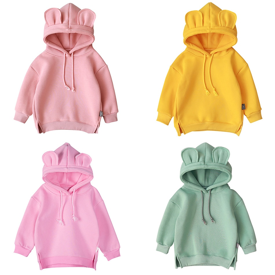 Spring Autumn Baby Boys Girls Clothes Children Cotton Hooded  Kids Casual Infant Cartoon Clothing Hoodies
