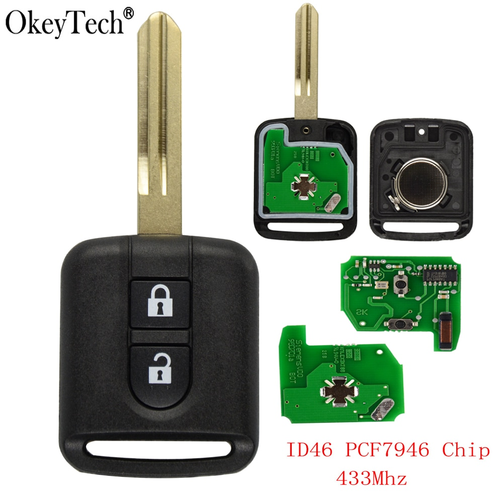 Okeytech 2 кнопки 433 МГц ID46 PCF7946 чип дистанционный ключ-брелок от машины для Nissan Elgrand X-TRAIL Qashqai Navara Micra Note NV200 Автомобильный ключ