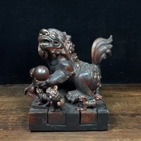 5chinese temple collection old bronze cinnabar lacquer lion statue six lions set seal ornaments town house exorcism