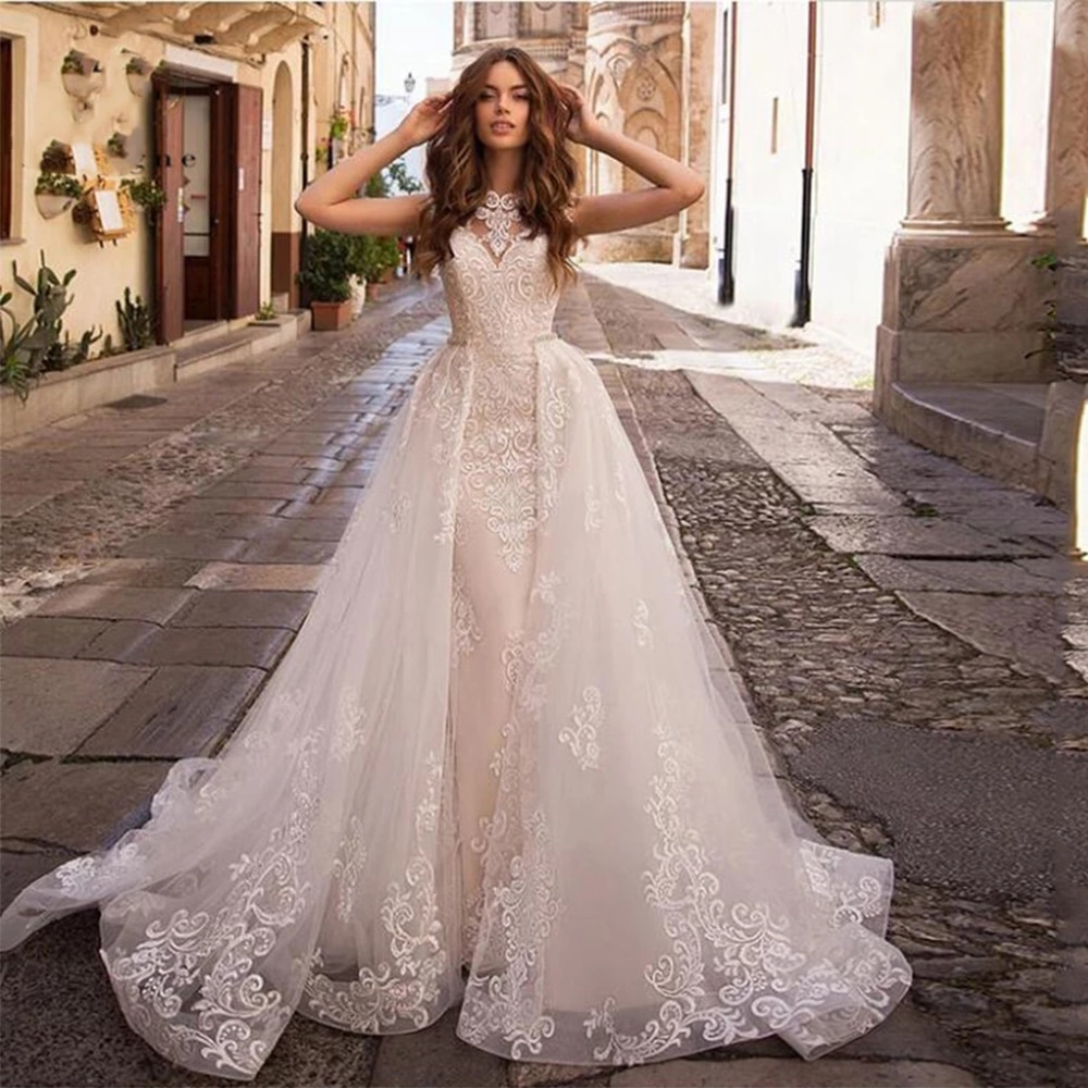 Review Mermaid Wedding Dresses 2021 Lace Appliqued Two in One Sleeveless O Neck Court Train Bridal Gowns Custom Made Vestidos De Noiva