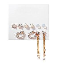 Pendientes coreanos de moda jewelry2020, pendientes largos de borla, conjunto de oro, cristal, perla, corazón, estrella, lindo, delicado pendiente, pendiente, envío gratis