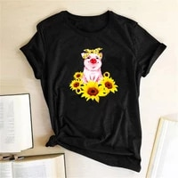 funny pig sunflower print women t shirt casual short sleeve femme t shirts women clothes harajuku graphic tee mujer camisetas