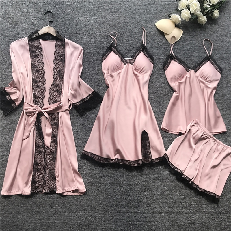 Plus Size Women Pajamas Sets Satin Sleepwear Silk 4 Pieces Nightwear Pyjama Spaghetti Strap Lace Sle