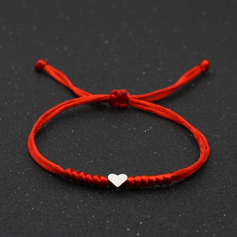 Bonito urso amor coração charme pulseira mulheres amantes desejo boa sorte corda vermelha trançado ajustável casal pulseiras jóias