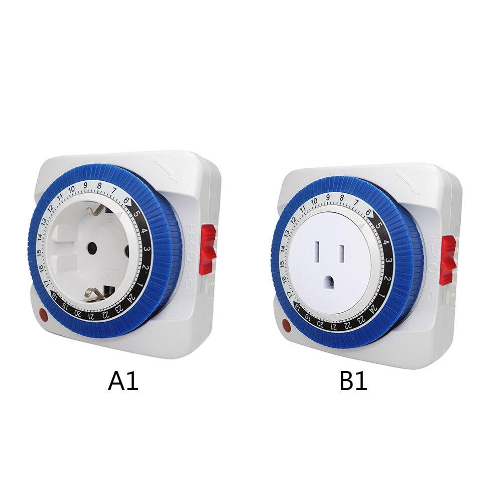 Enchufe de UE/EE. UU., 24 horas, temporizador, enchufe, temporizador de programa mecánico inteligente, interruptor de sincronización de ciclo, interruptor de mejora del hogar