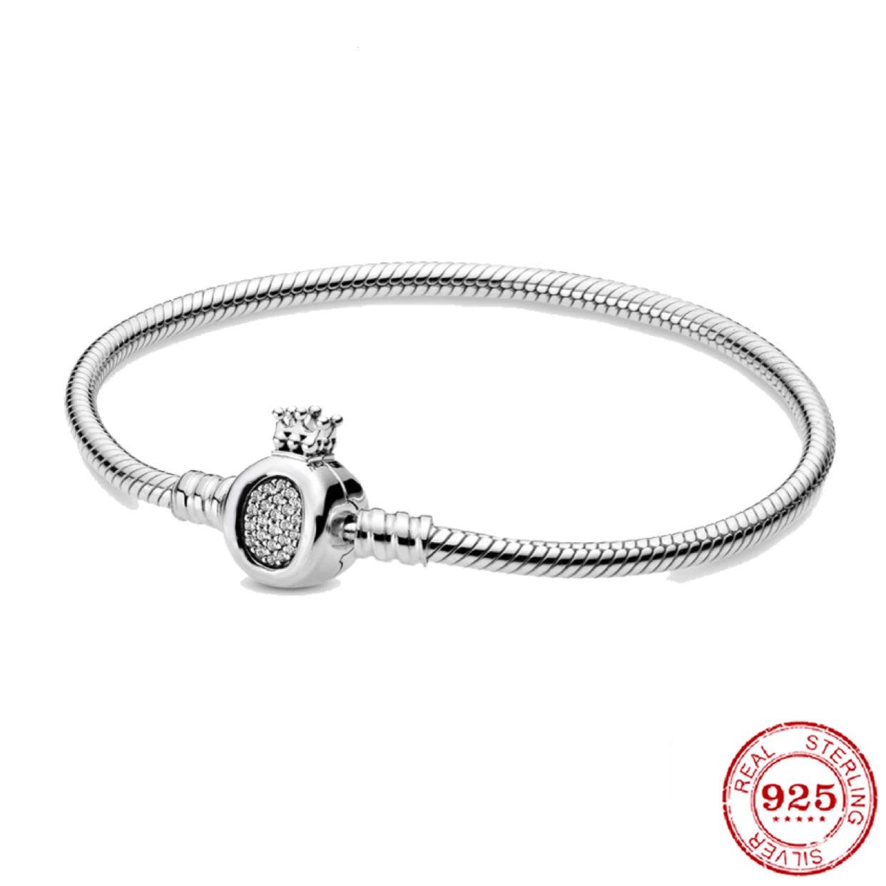 Pulsera de plata de ley 925 con diseño Original para mujer... abalorio...
