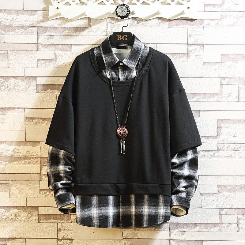 2020 Autumn Spring Patchwork Hoodies MEN'S Sweatshirts Hiphop Punk Streetwear Casual Pullover