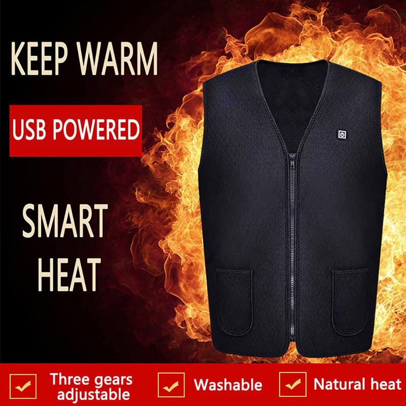 2019 nueva chaqueta de calefacción eléctrica Unisex sin mangas inteligente para hombres y mujeres Usb chaqueta cálida de invierno