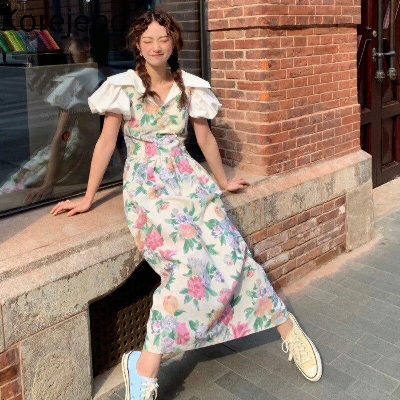Korejepo فستان نسائي 2021 صيف جديد الفرنسية ريترو الحلو الأزهار سترة Tuen-down طوق نفخة كم أنثى لطيف نمط فستان طويل