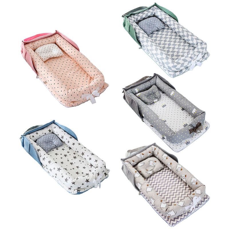 Portable Newborn Baby Sleep Nest Infant Travel Bed Crib Soft Anti-collision Breathable Cotton Lounger