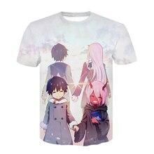 Anime Darling in the Franxx 3D T-shirt letni T-shirt szary projekt T shirt mężczyźni Hip Hop fajna bawełna T shirt 3D koszulki topy koszulki 2020