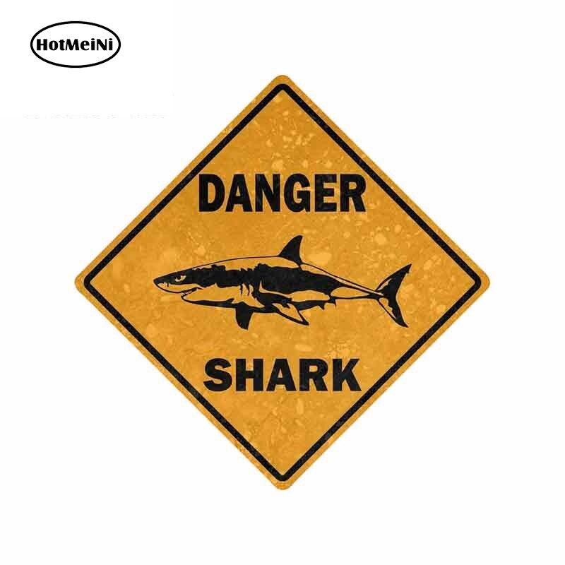 HotMeiNi, 13cm x 13cm, pegatina para coche, bicicleta, motocicleta, señal de peligro, área de tiburón, Surf, decoración para parachoques