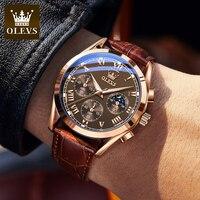 Мужские кварцевые наручные часы OLEVS Elite деловой стиль водонепроницаемые Роскошные дышащие спортивные часы с кожаным ремешком мужские подар...