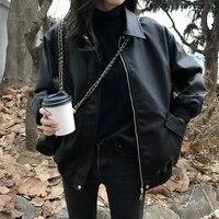 korean women black short faux leather jacket spring autumn 2021 female lapel long sleeve biker jacket oversized coat streetwear
